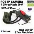 960 P Mini Cámara del IP del POE Poe ip mini H.264 Series 40x40mm Pequeño Cámara del Ip de 1.3 Megapixel HD POE CCTV Ip Poe de La Cámara externa