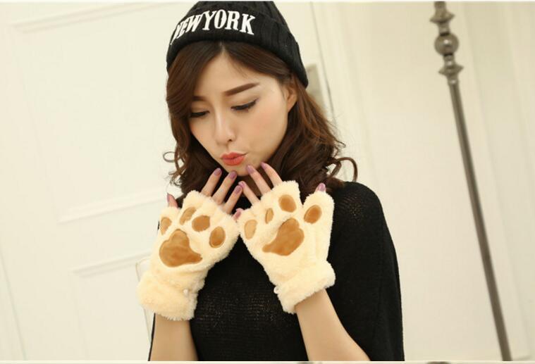 10pair Ladies Winter Fingerless Gloves,Fluffy Bear Cat Plush Paw Claw Half Finger Glove,Half Cover Women Female Gloves Mitten