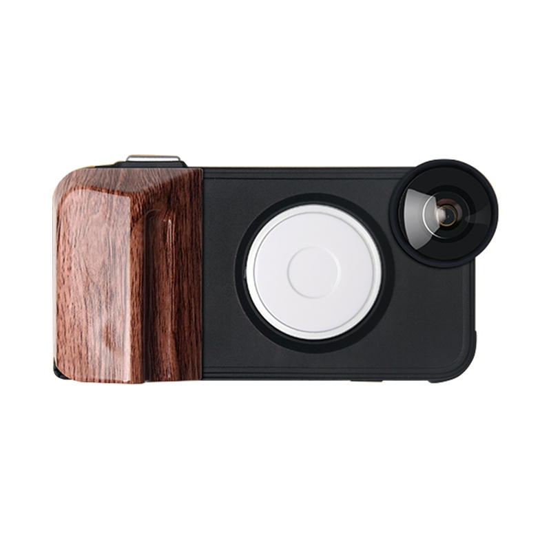 EDAL 180 Degree Fisheye Wide angle Lens Phone Case For iPhone 8 7 6 Plus LED Warm and Cold Macro Fill light Protection Shell