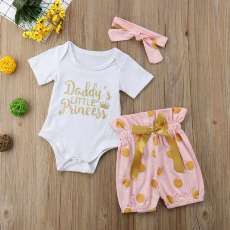 STOCK Infant Baby Girl Clothes Romper Bodysuit Pants Shorts arrival Comfortable princess Headband Outfits