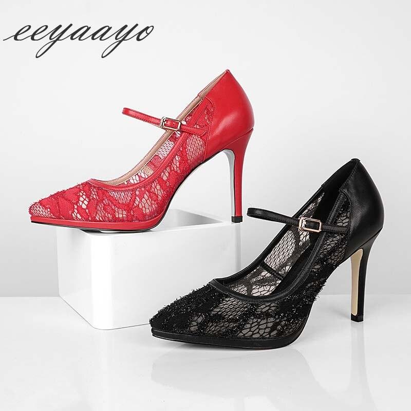 Cuir Boucle Bout Haute Red Sexy black Mince Femmes En Janes Mary 2019 Printemps Chaussures Pointu Pompes Dames Véritable Nouveau Noir Haut Talon Pour 41fIq