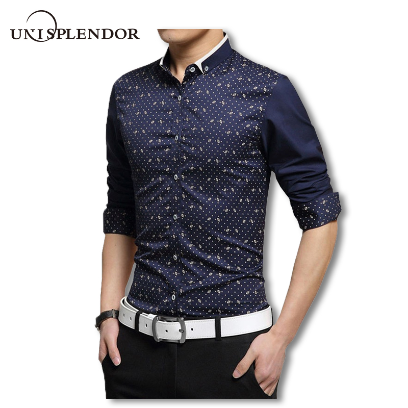 2018 primavera Corea hombres Camiseta slim fit camisas de manga larga moda  casual algodón Hombre Fancy floral dot dress shirts 5XL YN617 4437362c18d