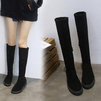 Long Le Femmes Genou De Tube Noir Black Harajuku Épais Femme Bottes Luxe Tête Version Sauvage Chaussures Style Sexy Ronde Avec Sur Cq05wgn0xI