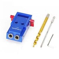 1 Set Mini Pocket Gat Jig Kit Schroevendraaier Stap Boor Wrench Met Doos Voor Houtbewerking Tool