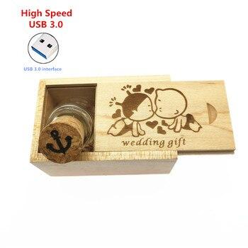 5pcs free logo high speed usb 3.0 Glass bottle +wood box thumb drive External Storage USB flash drive 8GB 16GB 32GB wedding gift