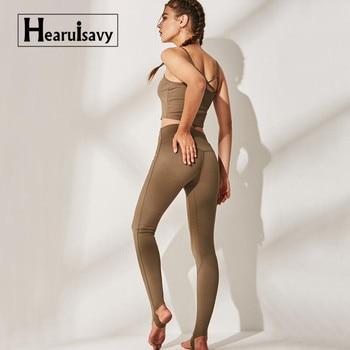 485706d92 Yoga transparente conjunto polainas + sujetador 2 piezas mujeres gimnasio  ropa de Fitness de cintura alta de la Yoga polainas conjunto corriendo ropa  ...