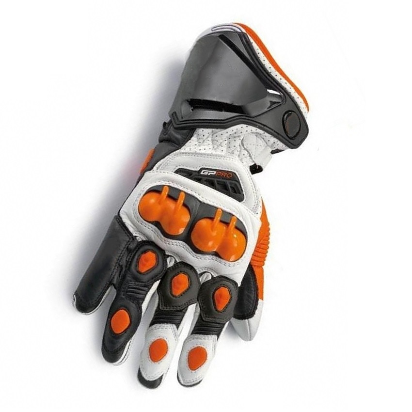 New Orange 100 Genuine Leather GP PRO Motorcycle Long Gloves Racing Gloves Driving Original GP PRO