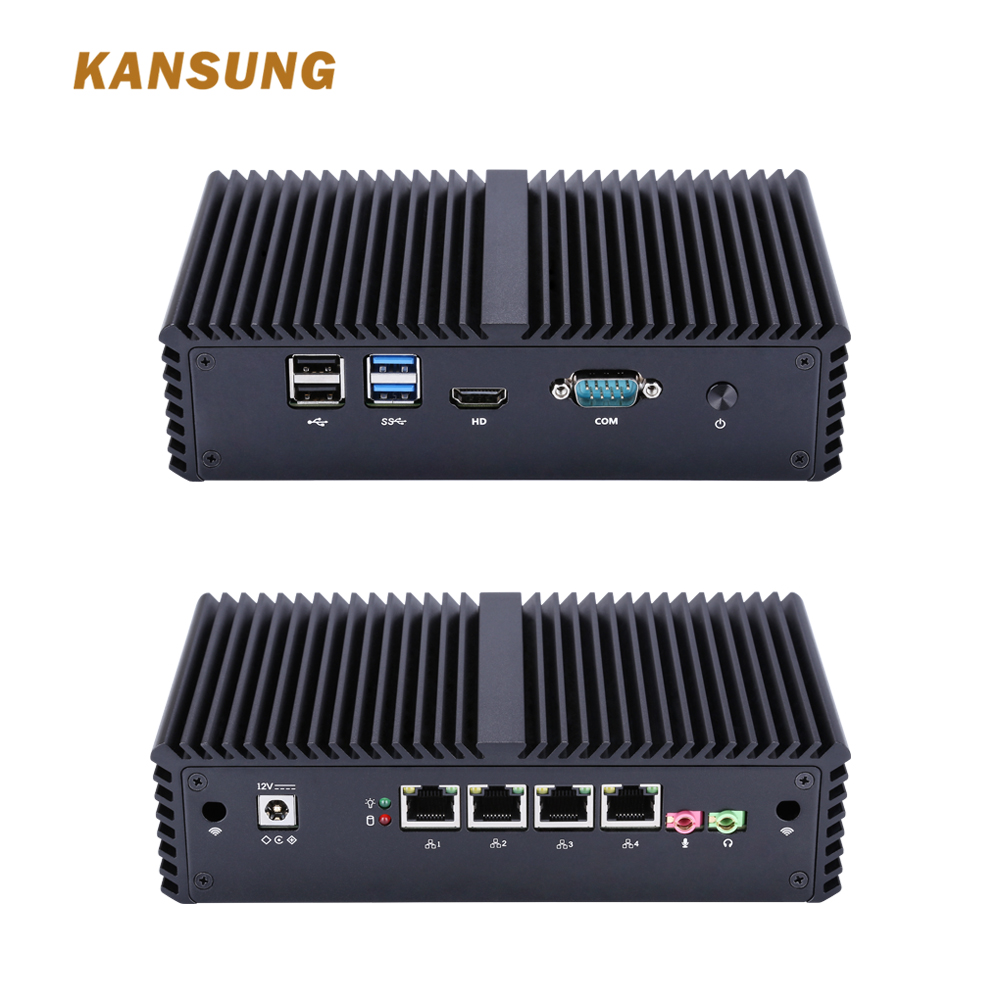 KANSUNG 4 Lan Thin Client Desktop PC Barebone System Computer Broadwell Dual Core I5 5200U Desktop Mini PC Industrial Fanless