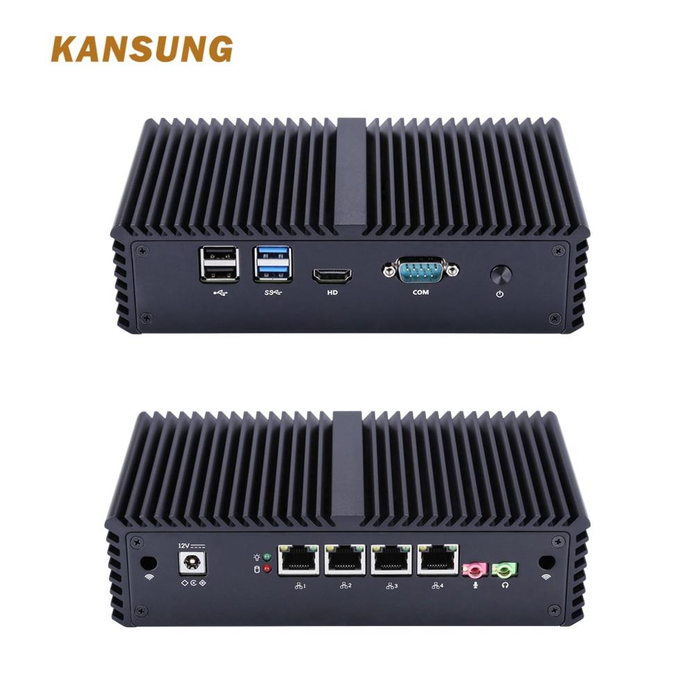 KANSUNG 4 Lan Thin Client Desktop PC Barebone System Computer Broadwell Dual Core I5 5200U Desktop Mini PC Industrial Fanless