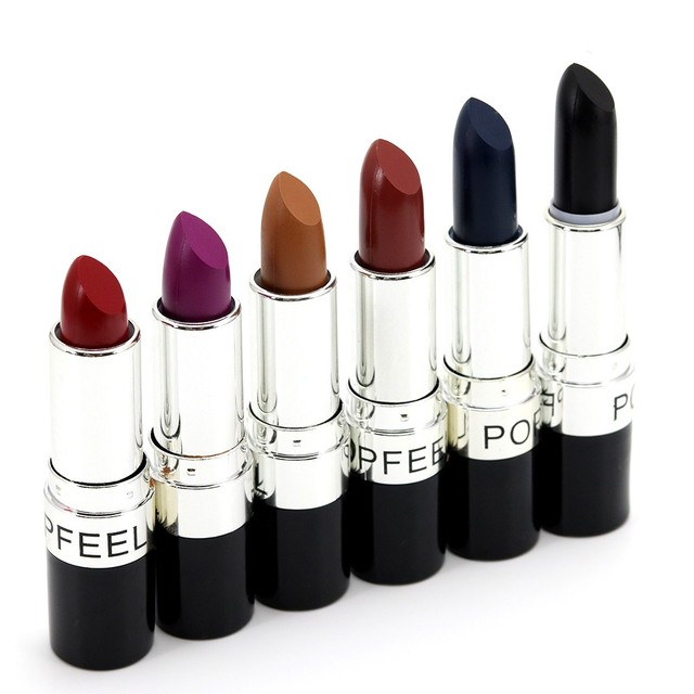 6 Color Matte Lipstick Vampire Style Makeup Purple Black red lipstick makeup waterproof lip stick cosmetic batom KH-3#