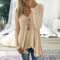 Autumn Winter T Shirts Casual Knitted Sweater Pullover Long Sleeve Women Tops Sexy V Neck T