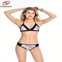 Cooclo Sexy Bandeau Swimwear Bikini Set Top Bottom 2017 Beach Swim Push Up Vintage Sequined Bathing