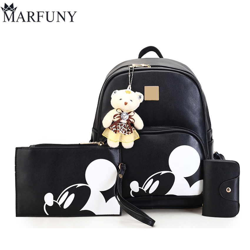 Fashion Mickey Backpack Women Bag Hot Sale 3 Sets Backpacks For Teenage Girls Cute Bear School Bags For Girls Pu Leather Mochila backpack women korean style school bags oil wax cowhide fashion backpacks for teenage girls mochila designer backpack travel bag