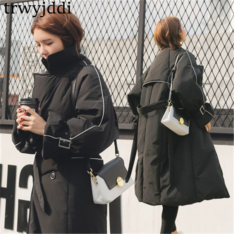 High Quality 2018 New Down Cotton Padded Jackets Women Winter Coat Casual Long Section Korean Loose   Parka   Female Overcoats A1305
