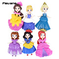 Princesses Toys 6pcs/set Snow white Elsa Sofia Ariel Belle Cinderella PVC Figures Girls Toys Gifts