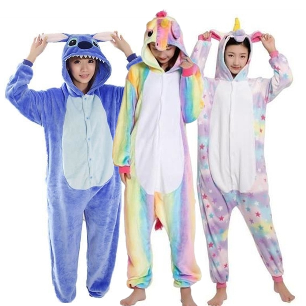 FINDPITAYA Unisex Animal Pajama Adults Flannel Cosplay Costume Halloween Costume Animal Combination Onesies Winter Stitch