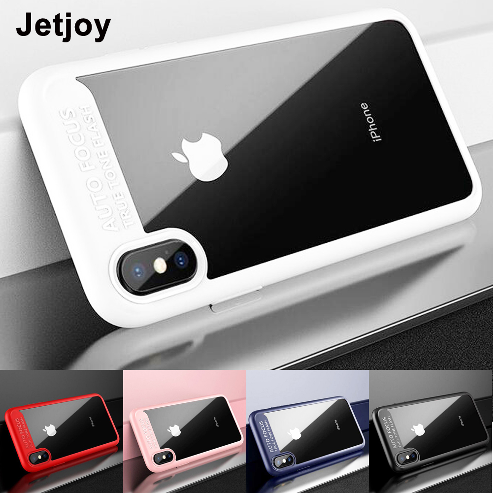 Jetjoy For iPhone X Ten 8 Plus Case Hybrid Clear Auto Focus Soft Silicone Frame Tough Ac ...