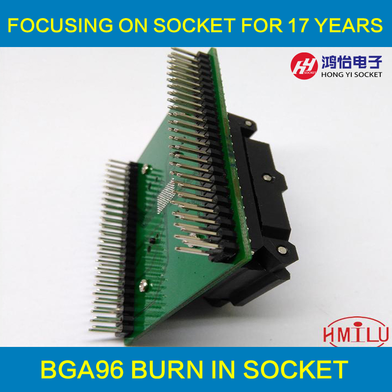 BGA96 Clamshell socket pitch 0.8mm IC size 11.6*7.95mm BGA96(11.6*7.95)-0.8 BGA96 VFBGA96 programmer socket leadshine stepper motor driver 3dm 683 3 phase digital stepper drive max 60vac 8 3a