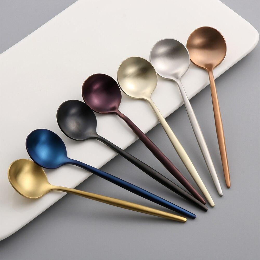 Mini Stainless Steel Coffee Spoon Wide Utensils Kitchenware Tableware Soup New