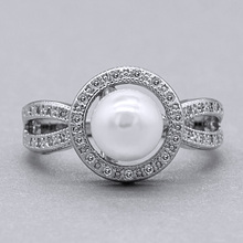 Huitan Stylish Solitaire Ring with White Simulated Pearl Design Birthstone Jewelry Brilliant CZ Engagement Rings for Women Girls стоимость