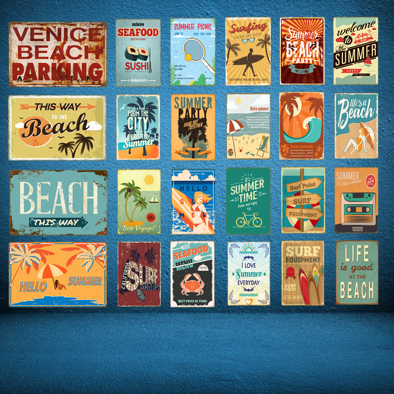 US $4 89 45% OFF|Hello Summer Vintage Wall Decoration Life Is Good At Beach  Metal Art Poster Bar Pub Cafe Retro Plate Seafood Tin Signs YD014-in