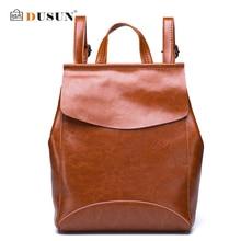 Dusun известная марка женщины рюкзак старинные натуральная кожа двойной мешок плеча женщины досуг сплошной цвет сумка девушка рюкзак