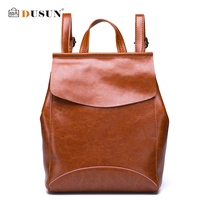 DUSUN Famous Brand Women Backpack Vintage Genuine Leather Double Shoulder Bag Women Leisure Solid Color Satchel