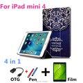 Nuevo dibujo coloreado de mini 4 cubierta para ipad mini4 cuero de la pu caso de la cubierta para apple ipad mini 4 7.9 pulgadas tablet pc caso + película + otg + pen