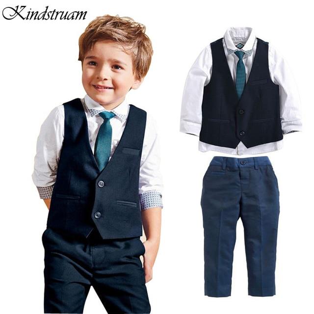 1e3202cb1dd Trend 2016 Formal Clothing Suits for Boys Shirt + Vest + Pants + Tie 4 Pcs
