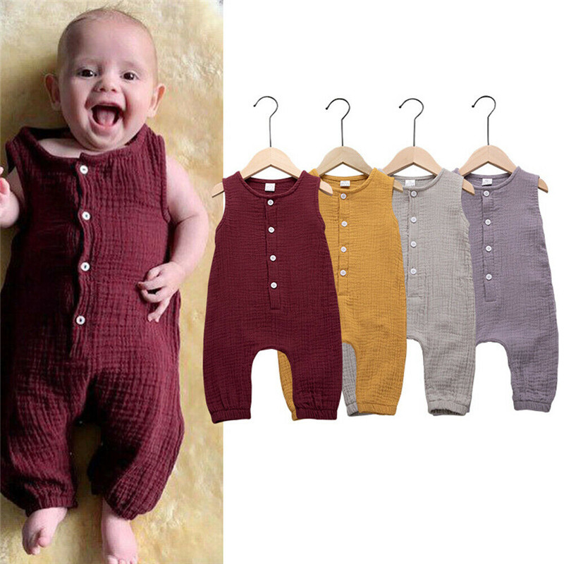 PUDCOCO Lovely Newborn Baby Boys Girls Solid Sleeveless Playsuit   Romper   Jumpsuit Summer Casual Sunsuit Outfit Clothes 0-18M