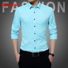 iRicheraf Men Solid Plus Size 3XL 4XL 5XL Non-Ironing Formal Shirt Long Sleeve Mens Dress Shirts Slim Fit for Business Man White
