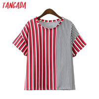 Tangada Fashion Women Striped Patchwork T shirt O-Neck Short Sleeve T-shirts Female Tops Tees 2017 Summer Casual Brand XD136