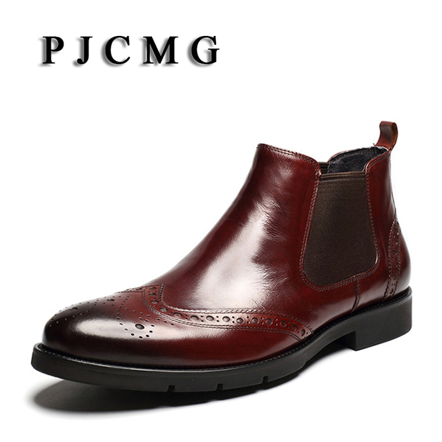PJCMG Yüksek Kaliteli Oyma Moda El Yapımı Nefes Hakiki Deri Botları Slip-On Sivri Burun Oxford yarım çizmeler Erkekler Için
