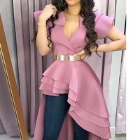 Summer 2019 Runway Blusas Women Short Sleeve Pink Peplum Tops Sexy Long Elegant Ruffles Layered Party Blouse Women Office Tops