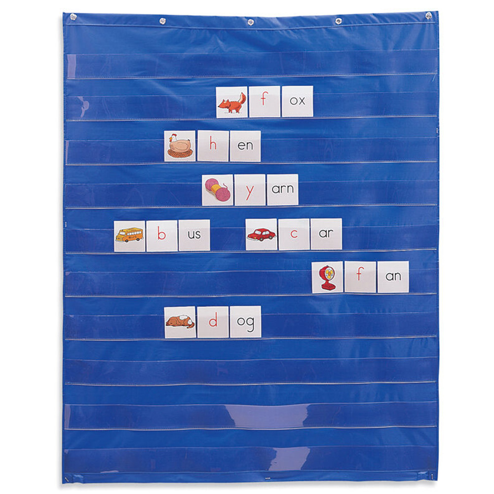 10 Giant Transparent Learning Resources Insert Card Teaching Foldable Pocket Chart Easy Mounting Space Saving Home Standard