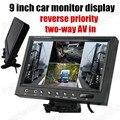 9 Polegada Ultra Grande display TFT a cores LCD Monitor Do Carro de backup Reversa câmera Retrovisor prioridade com 2 AV em