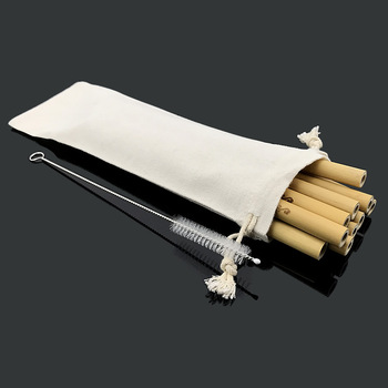 Natural Bamboo Drinking Straws Eco-Friendly Sustainable Bamboo Straws Reusable Straws with Straw Cleaner Linen Cloth Bag 1