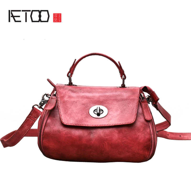 AETOO Original retro leather handbags first layer of leather handbag shoulder diagonal package summer