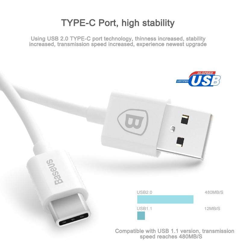 Baseus USB Type C כבל סנכרון נתונים מהיר Charger Type-C כבלים HTC10 Xiaomi Mi5 Mi4c LG G5 נקסוס 5X 6P Oneplus 3 2 USB-C