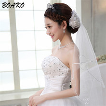 BOAKO Short Wedding Veil Simple Tulle White Ivory Red One Tier Bridal Cheap Bride Accessories Thread Cut Edge Women Veils