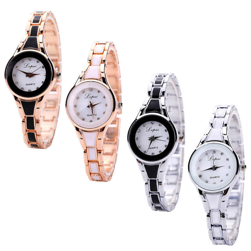 Fashion Wanita Watch Stainless Steel Mewah Gelang Analog QUARTZ Wrist Watch