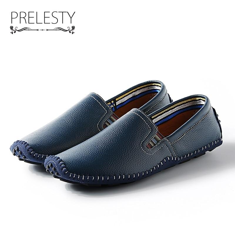 Prelesty Marque De Luxe de Haute Qualité À La Main Doux Hommes En Cuir Naturel Chaussures Slip Casual Sur La Conduite Mocassins Bonne Couture