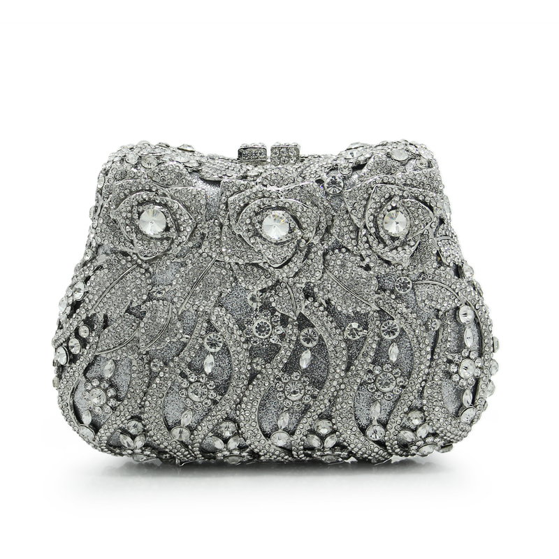 2018 New Design Women Luxury Crystal Evening Clutch Bags Ladies Party Flowers Bag Wedding Clutches(88234 SS)