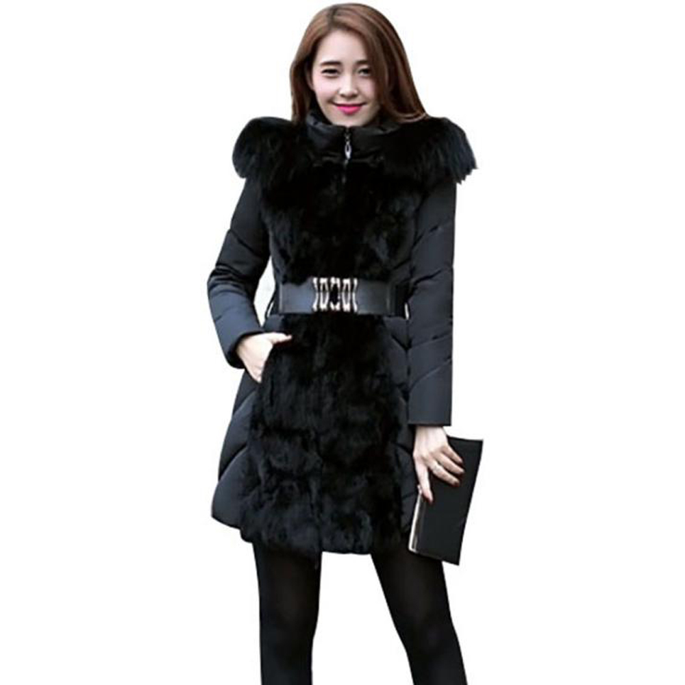 Women Elegant Winter Warm Long Coat Down Padded Jacket Slim Fur Collar Hooded Parka Coats 2017 Female Slim Long Parka With Belt slim winter jackets women belt long down coat 2016 new fashion women s winter coat fur collar coats female thick warm parka y269