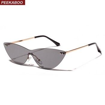 Offizieller Lieferant vielfältig Stile attraktiv und langlebig Peekaboo randlose sonnenbrille frauen dreieck klar objektiv 2019 sommer cat  eye sonnenbrille für frauen designer uv400 einem stück linse
