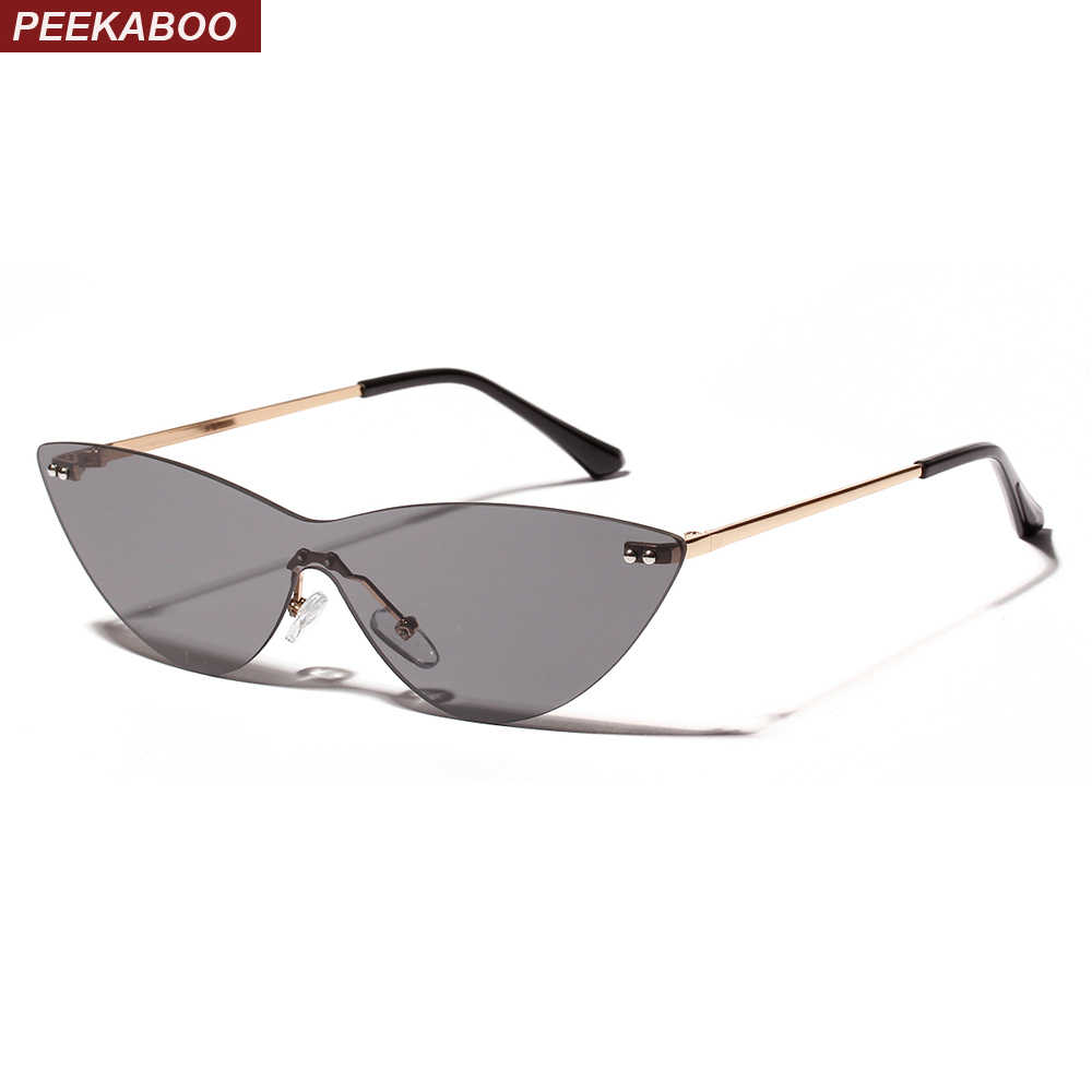 16b8fc14dd62f Peekaboo rimless sunglasses women triangle clear lens 2019 summer cat eye  sun glasses for women designer