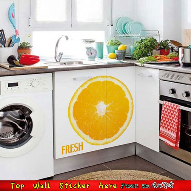 amazing Cabinet Decals Shop Part - 3: HOt FRESH Orange Wall Stickers For Cupboard Cabinet Wall Decals Store Shop  Wall Sticker Mural Art