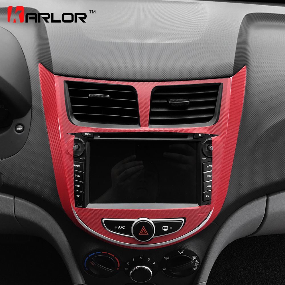 Auto Central Control Multimedia Radio Panel Sticker Decal Car Styling For Hyundai Solaris Verna Accent 2011-2017 Accessories