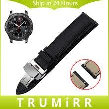 22mm de liberación rápida de la banda de reloj del cuero genuino para samsung gear s3 classic frontera garmin fenix chronos butterfly buckle strap