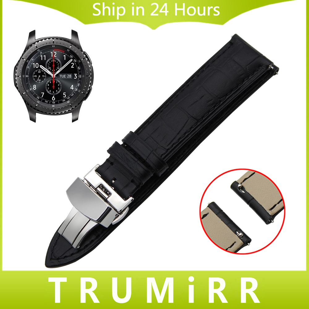 22mm Quick Release Genuine Leather Watch Band for Samsung Gear S3 Classic Frontier Garmin Fenix Chronos Butterfly Buckle Strap